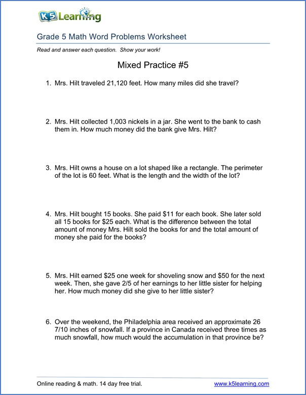 Free Multiplication Word Problem Worksheets 5th Grade Word Problem