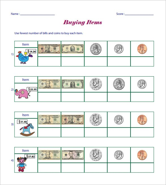 12+ Money Math Worksheet Templates – Free Word, Pdf Documents