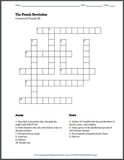 French Revolution Crossword Puzzles