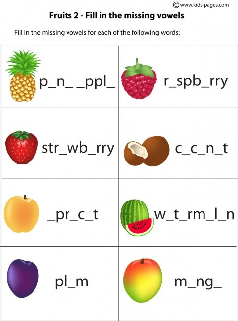 Fruits Fill In 2 Worksheet