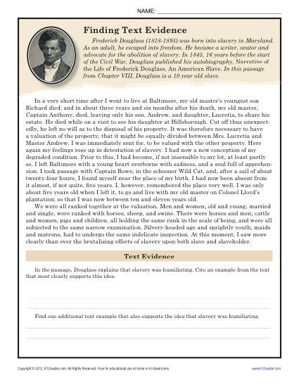 Finding Text Evidence  Frederick Douglass