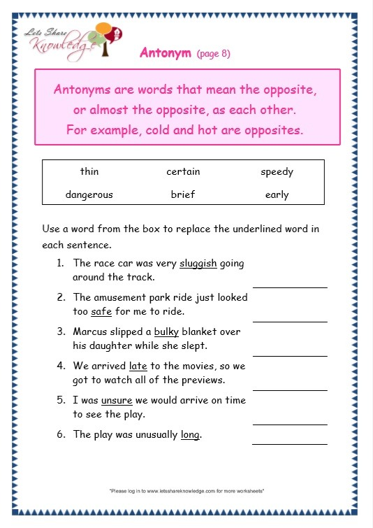 Grade 3 Grammar Topic 28  Antonyms Worksheets