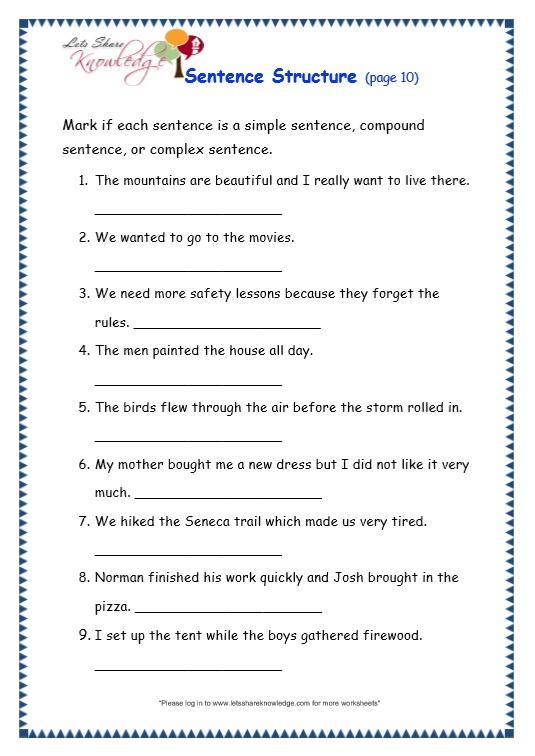 Grade 3 Grammar Topic 36  Sentence Structure Worksheets – Lets