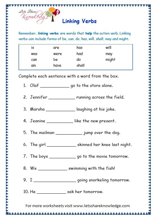 Grade 3 Grammar Topic 14  Helping Verbs Worksheets – Lets Share