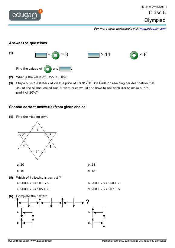 Grade 5 Olympiad  Printable Worksheets, Online Practice, Online