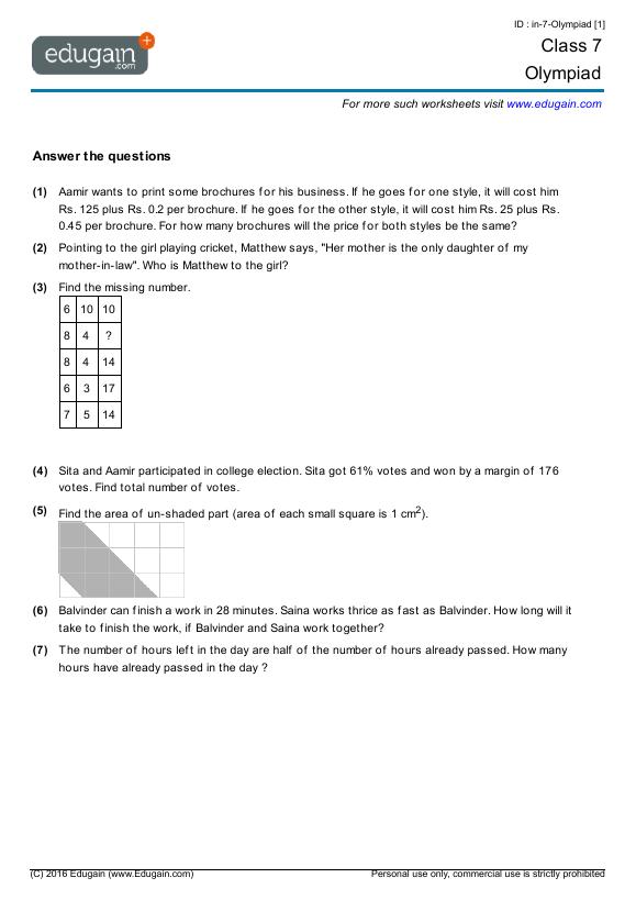 Grade 7 Olympiad  Printable Worksheets, Online Practice, Online