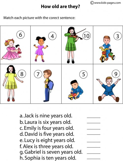 How Old Are They  Worksheet