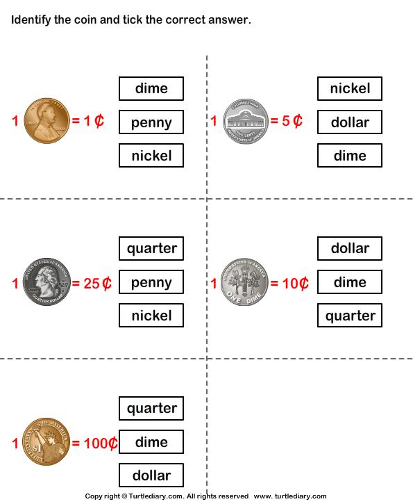 Identify Coins Worksheet