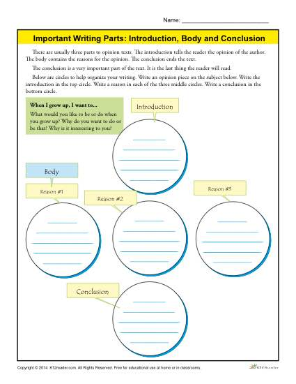 Introduction, Body And Conclusion Worksheet For 3rd Grade