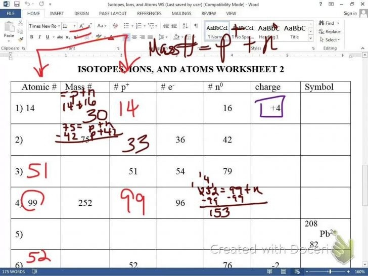 Isotope Notation Chem Worksheet 4 2 Protons Neutrons And Electrons
