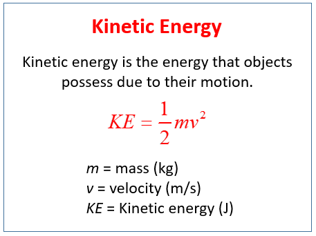 Kinetic Energy Examples (solutions, Videos, Activities)