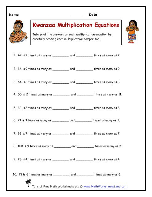 Kwanzaa Multiplication Equations