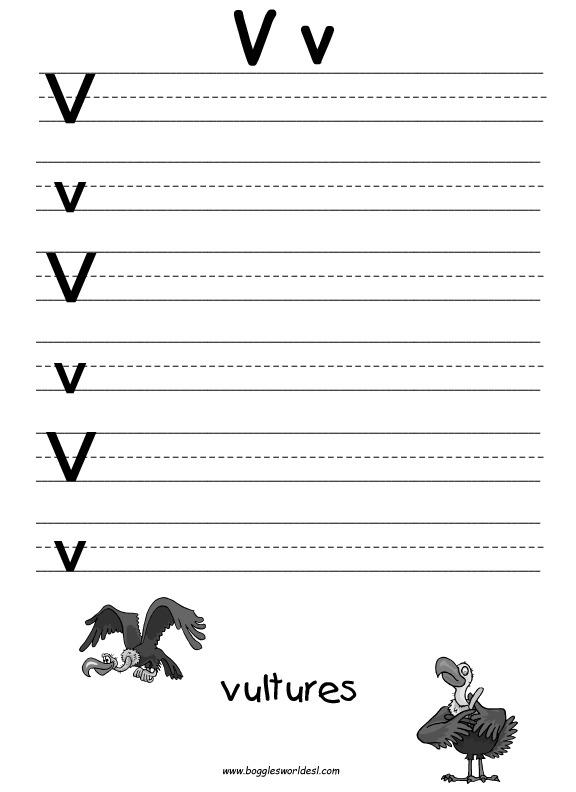 Letter V Worksheets  Letter  Alistairtheoptimist Free Worksheet