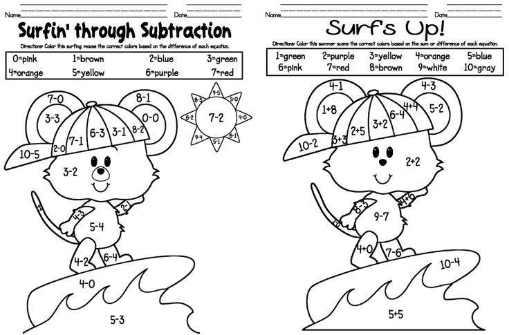 Coloring Worksheets For Kindergarten Math