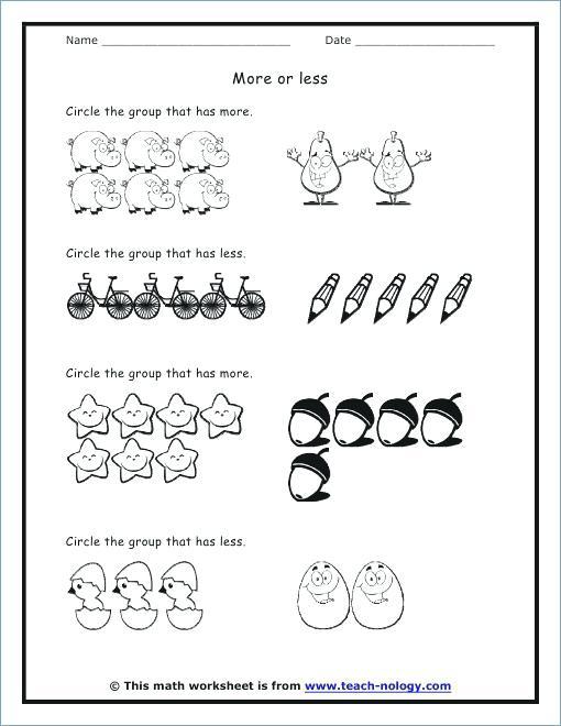 More And Less Worksheets Kindergarten – Deffufa Info