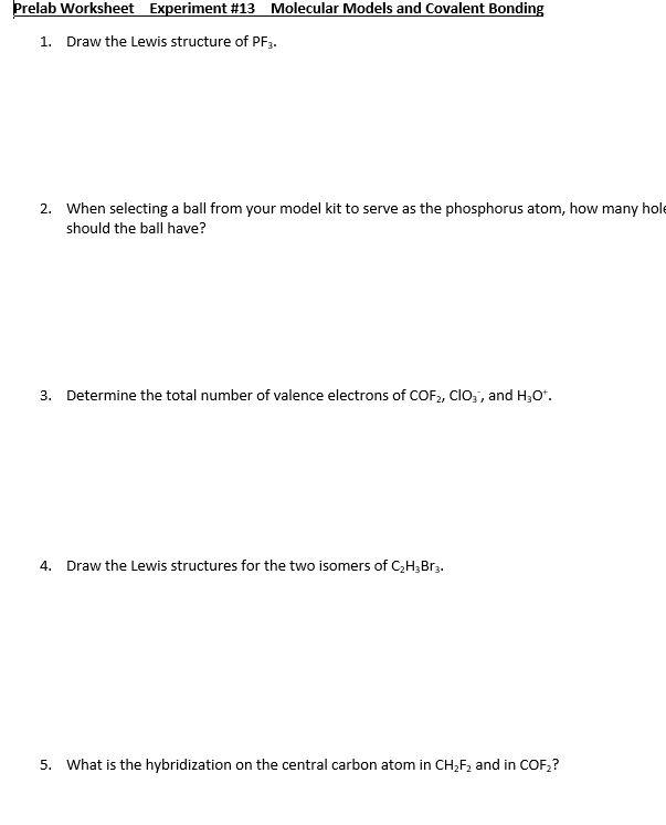 Solved  Prelab Worksheet Experiment  13 Molecular Models A