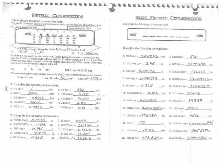 Metrics And Measurement Worksheet Answers Unit 1 Chemistry For