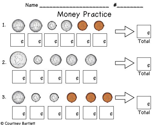 1st Grade Coin Worksheets