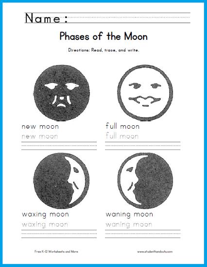 Moon Phases Handwriting Worksheet