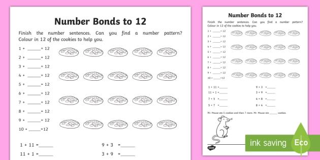 Number Bonds Within 20  Bonds To 12 Worksheet   Activity Sheet