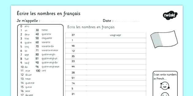 Numbers Worksheets Writing French Worksheet Languages Kindergarten