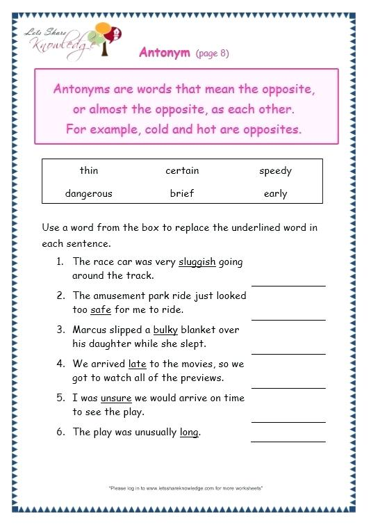 Page 8 Antonyms Worksheet Grade 3 Grammar Worksheets 3rd Pdf Topic