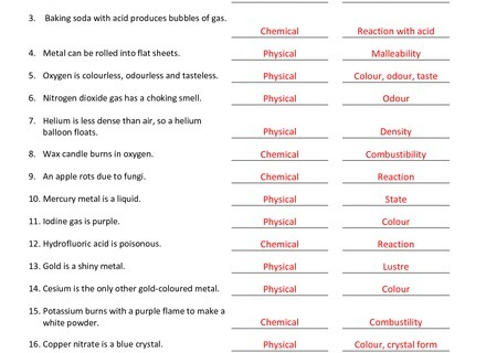 Worksheet On Chemical Vs Physical Properties And Changes