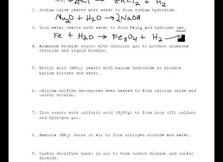 Practice Writing Chemical Equations From Word Equations Chemical