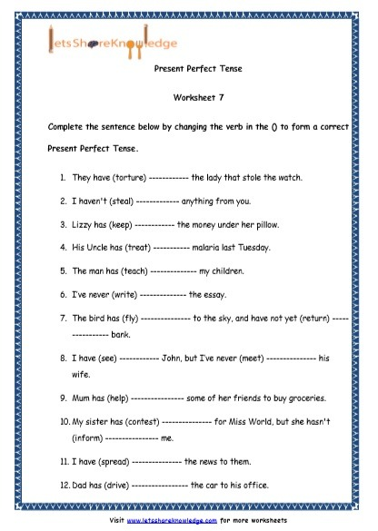 Grade 4 English Resources Printable Worksheets Topic  Present