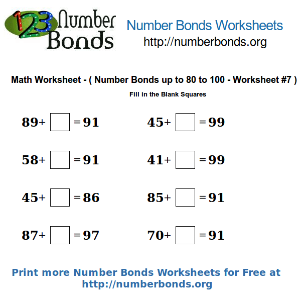 Number Bonds Math Worksheet From 80 To 100 Worksheet  7