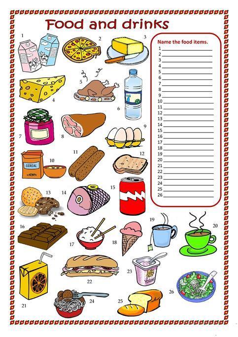 Food And Drinks Worksheet Worksheet