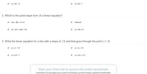 Quiz & Worksheet Point Slope Form