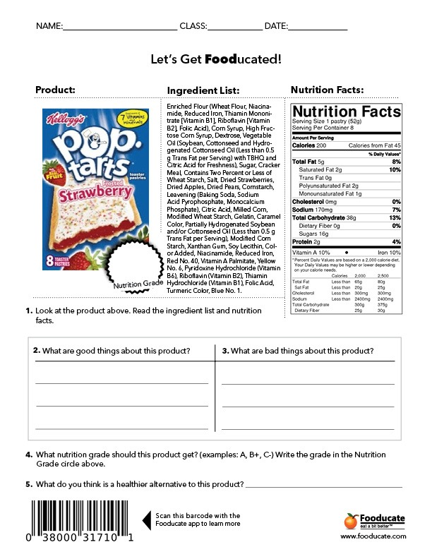 Food Label Worksheet