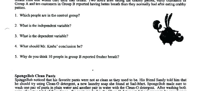 Scientific Method Spongebob Worksheet Answers