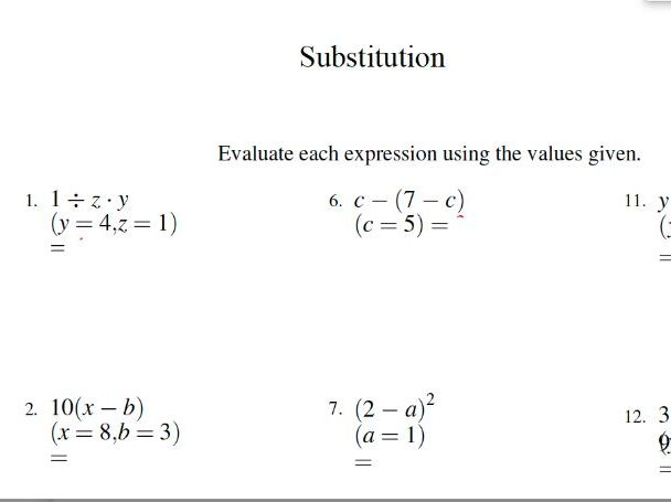 Gcse Mathematics Worksheet – Substitution By
