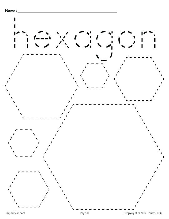 Shapes Tracing Worksheets Free Abc Pdf Printable Hexagons