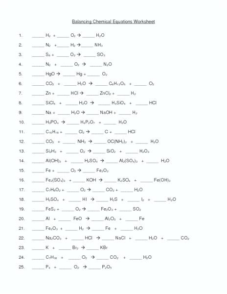 Balancing Chemical Reactions Worksheet Lovely Word Equations