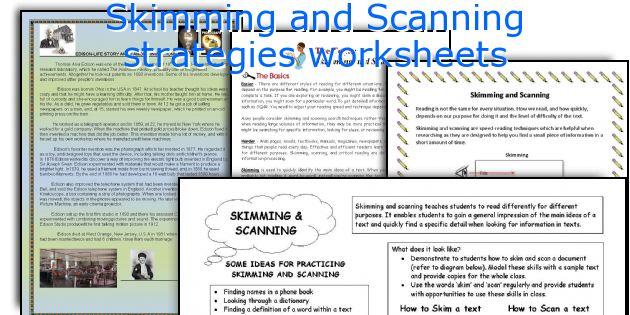Skimming And Scanning Strategies Worksheets