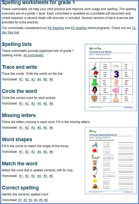 Spelling Worksheets For Grades 1 To 5