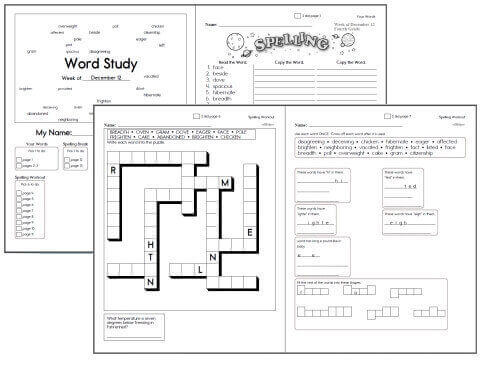 Free Spelling Workbooks And Spelling Word Lists