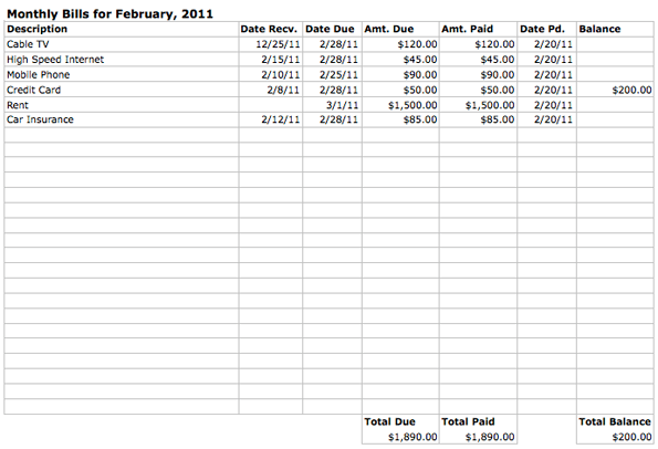 Spreadsheet For Bills