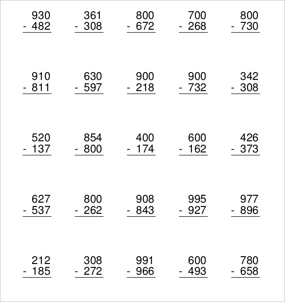 Sample Subtraction Across Zeros Worksheet