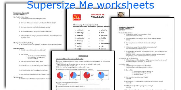 Supersize Me Worksheets