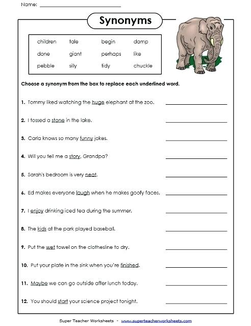 Synonyms Worksheet Antonyms Worksheets Grade 3 And – Newstalk Info