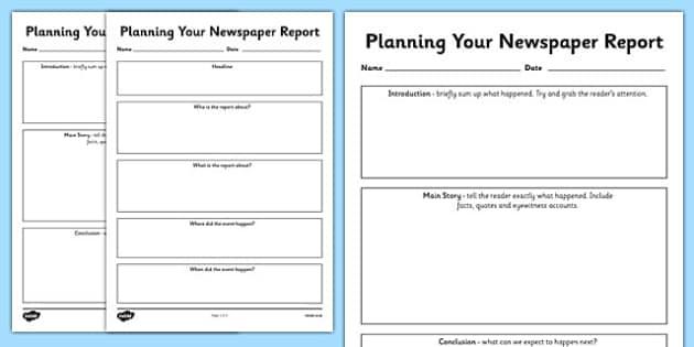 Newspaper Report Planning Templates