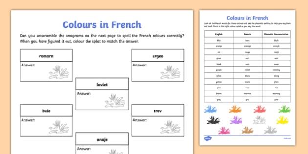 French Colours Worksheet   Worksheet