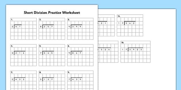 Short Division Practice Worksheet