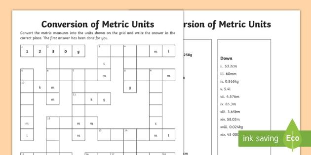 Uks2 Conversion Of Units Measurement Crossnumber Worksheet   Worksheet