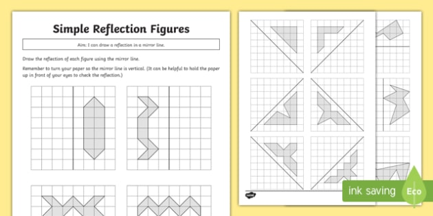 Geometry  Complete Simple Symmetric Figures Worksheet   Activity