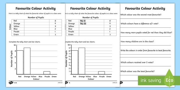 Favourite Colour Tally And Bar Chart Worksheet   Activity Sheets
